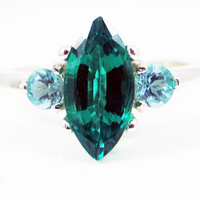 Emerald Marquis and Apatite Accent Ring - Sterling Silver