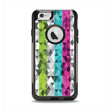 The Trendy Colored Striped Abstract Cube Pattern Apple iPhone 6 Otterbox Commuter Case Skin Set