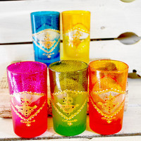 Five Tea Glasses , Morrocan Ice or Hot Tea Tumblers with Gold Details