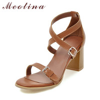 Meotina Shoes Women Sandals Summer 2017 Cross Strap High Heel Sandals Brown Buckle Chunky Heels Sandals Beige Plus Size 43 44 11