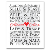 Customizable Disney couples print - Mickey Minnie Silhouette - for Disney lovers - Anniversary or Wedding gift typography
