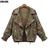 Women's Plus Size Camoflauge Batwing Sleeved Zipper Coats