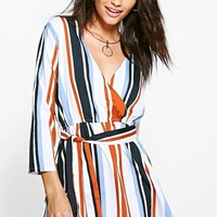 Mia Wrap Front 3/4 Sleeve Playsuit