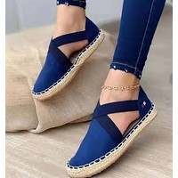 New style straw woven flat elastic solid color twine sandals women's shoes