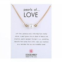 Simple Pearl Pendant Card Alloy Clavicle Pendant Necklace  171208