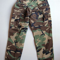 Vintage Camo Camouflage BDU Pants Authentic US Military Hunting Large Short