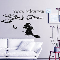 Halloween Wall Decal Bats Witch Holiday Sticker Happy Halloween Vinyl Stickers Home Decor Living Room Decal Art Interior Design KY143