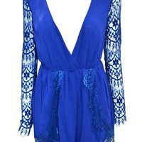 Long Sleeves Lace Romper In Blue
