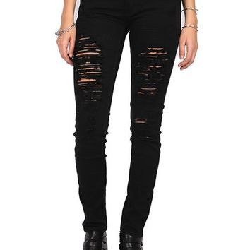 A Cut Above Distressed Skinny Jeans
