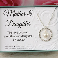 Mothers Day from Daughter Gift for mom sterling silver necklace eternity circle Swarovski pearl gift box gift from Daughter