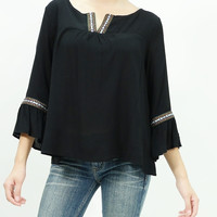 Embellishment patches detailed bohemian peasant top