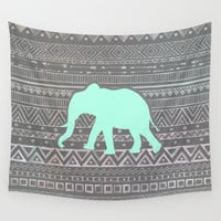 Mint Elephant  Wall Tapestry by Sunkissed Laughter