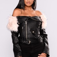 Samantha Fur Motto Jacket - Black