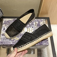 Dior CD new hollow fisherman shoes fashion ladies woven hemp rope sandals slippers