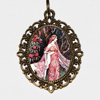 Forest Goddess Necklace, Spirit Of The Forest, Warwick Goble, Deer Jewelry, Oval Pendant