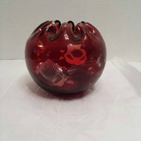 red glass ruby red rose bowl bohemian cut to clear glass bowl crimped edges patten bowl art glass vintage glass red glass