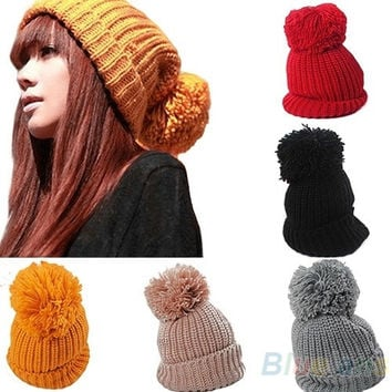 Women's Winter Slouch Knitting Cap Warm Oversized Cuffed Beanie Crochet Ski Bobble Hat, cute, head warmer = 5978928833