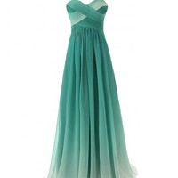 Bulutu Women's Ombre Color Evening Dress Prom Gown Long Style