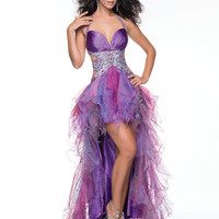 Nina Canacci 2014 Prom Dresses - Purple Beaded Satin & Tulle Halter Cut Out Prom Gown