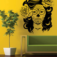 Day of the Dead Girl EXTRA LARGE Skull Art Decal Sticker Wall Vinyl