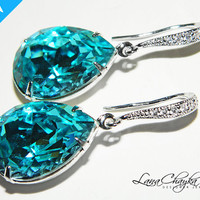 Wedding Mother of The Bride Gift Earrings Swarovski Light Turquoise Rhinestones Sterling Silver Cubic Zirconia Dangle Blue FREE US Shipping