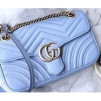 Onewel GUCCI Macaron marmont wave pattern double G buckle love Heart back Purple
