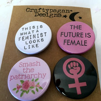 Feminist Pin Badges Gift Set/ Feminist Button Badge Pack of 4/ Girl Gang Gifts/ This is What A Feminist Looks Like/ Feminist Gift Set/