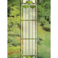 Arts and Crafts Tall Ginkgo Art Glass Panel