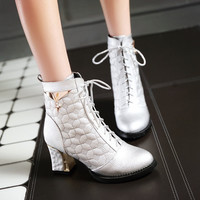 Lace Up Metal Decoration Chunky Heel Ankle Boots 4851