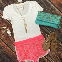 Trimmed in Terry Shorts: Pink