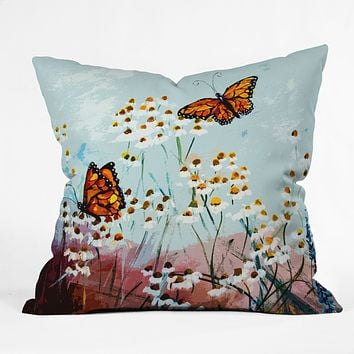 Ginette Fine Art Butterflies In Chamomile 1 Throw Pillow