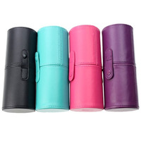 Professional PU Pound Makeup Brushes Holder Cosmetic Brush Container Cylinder Vessel = 1931889220