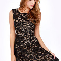 Just in Lace Beige and Black Dress
