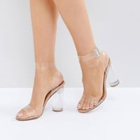 Steve Madden Clearer Barely There Heeled Sandals at asos.com