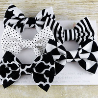 Black & White, Patterned Series, Set of 5 SMALL Bow Hair Clips