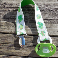 Ribbon Pacifier Clip, Green Frogs and Turtles, Gender Neutral Pacifier Holder, Binky Clip, Pacifier Clip or Toy Clip,