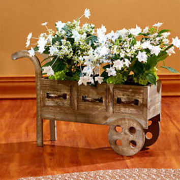 Wooden Rustic Cart Planter With Metal Drawer Pulls Flower Plant Stand Home Decor