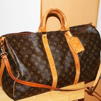 Auth Louis Vuitton Monogram Keepall Bandouliere 45 Boston Bag M41416 LV