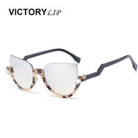 VictoryLip Vintage Cat Eye Women Sunglasses Bend Temple Half Frame Bling Bling Diamond Lady UV400 Sun Glasses Fashion Shades