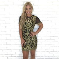 Date Night Gold Embroider Black Bodycon Dress