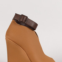 Ankle Cuff Slit Wedge Ankle Bootie
