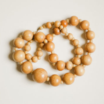Vintage wood bead necklace, 1960s, natural raw undyed light wooden beads with visible grain, chunky beaded statement necklace