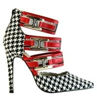 Rulebreaker Houndstooth Pointy toe Pump Strappy Stiletto Heel - Cutesy Originals