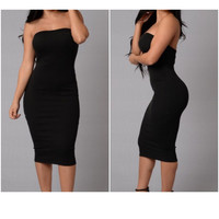 New Plus Size Sexy Solid Black Tube Bodycon Midi Dress Size 1X
