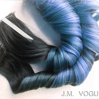 Baby Blues #1b Powder Blue Balayage Clip in Ombre extensions 100% human hair Pastel Dip Dye