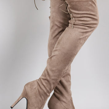 Dollhouse Back Lace Up Almond Toe Over-The-Knee Boots