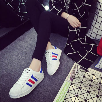 Unisex Shoes Multicolor Stripe Shell Head Plate Shoes Small White Shoes Couple Sneakers