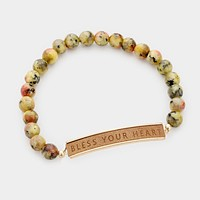 Semi Precious Bless Your Heart Stretch Bracelet