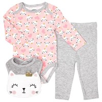 Baby Girls Cat Bodysuit, Leggings, & Bib (0-9m) 311001315
