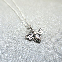 sterling silver bumble bee necklace, honey bee, bee necklace, jewelry